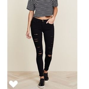 Frame Le Skinny de Jeanne Distressed Black